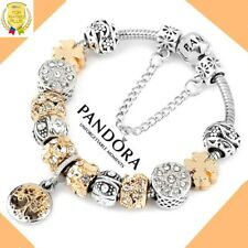 """Authentic Pandora Bracelet Silver Gold """"Tree of Life"""" with European Charms New"""