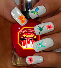 Hummingbird Nail Art Stickers with Flowers Transfers Decals B001-51
