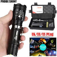 6000 LM Zoomable XML T6 LED Tactical Flashlight 18650 Battery Charger  Case Set