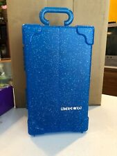 """Vintage Toys Doll Carry Travel Case Blue Glitter LIMITED*TOO 13"""" Heavy Plastic"""