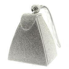 Plata Diamante Cristal Diamante Noche Bolso sin asas Cartera gemas de Boda Fiesta Baile de graduación