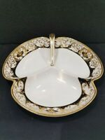 """Vintage Porcelain China Nippon Hand Painted Divided Dish White Black Gold 8.5"""""""