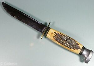 "Vintage Fixed Blade Bone Handle Kabar Hunting Knife. 4"" Blade. No Scabbard. Old!"