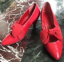 VTG 80s LADIES CARVELA RED LEATHER SUEDE SHOES PUMPS POINTED TOES UK 4.5 37 6.5