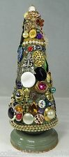 OOAK Vintage Costume Jewelry Christmas Tree Stand Alone Cone Rhinestones Charm b