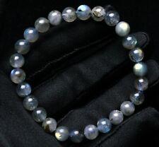 7.5mm Natural Labradorite Rainbow Light Gemstone Beads Bracelet AAAA