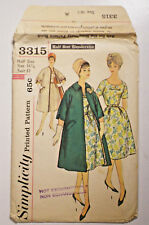 S-3315 Vintage Dress & Coat Sewing Pattern Simplicity Bust 37 Cut & Complete