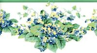 Yellow Blue Green Leaf & Garden Floral Vine Wallpaper Border Flower Wall Decor