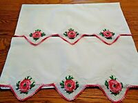 """Vintage Pair Floral Pillowcases In Pinks W 4"""" Hand Crocheted Inserts  EUC"""