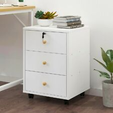Beside Table Nightstand 3 Drawer Storage Filing Cabinet Bedroom Furniture White