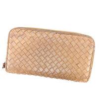 Bottega Veneta Wallet Intrecciato Brown Gold Woman unisex Authentic Used L1358