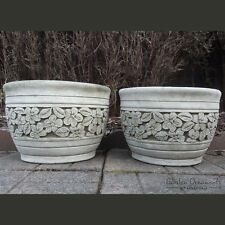 LARGE FLOWER POT Garden Ornament PAIR Hand Cast Stone Planter ⧫onefold-uk