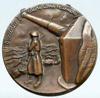 ITALY World War II NAVAL SERVICE BATTLESHIP Gun OLD Vintage ITALIAN Medal i89392