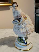 19th Dresden VOLKSTEDT Porcelain Lace Figurine Ballet Dancer Blue Slippers & Fan