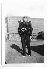 Woman With An Armful Of Dogs Vintage Snapshot Photo