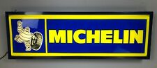 MICHELIN Tire Lighted Dealer Sign 12 X 36 Blue Frame Single Sided Hanging Sign