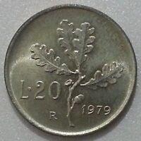 MONETE REPUBBLICA ITALIANA 20 LIRE  RAMO DI QUERCIA 1979 DA ROTOLINO FDC