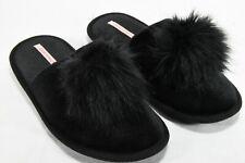 Victoria Secret Black Pom Pom Slippers House Size M 7-8 Style # 386859