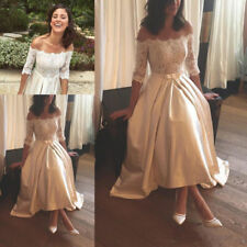 Off The Shoulder Champagne Tea Length Wedding Dress Lace Bridal Gown Custom Size