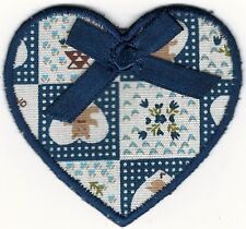 """2 1/4"""" Blue Bow Goose Heart Printed Teddy Bear Fabric Embroidery Patch"""
