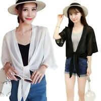 Summer Women Ladies Thin Cardigan Chiffon Open Front Sun Protection Clothing Top