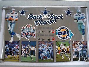 RARE COWBOYS BACK TO BACK  CHAMPS 1994 VINTAGE ORIGINAL NFL STARLINE POSTER