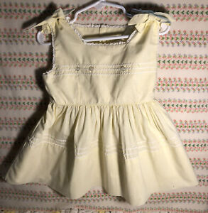 Vintage Yellow  Girls Summer Dress Approximate Size 18M/24M