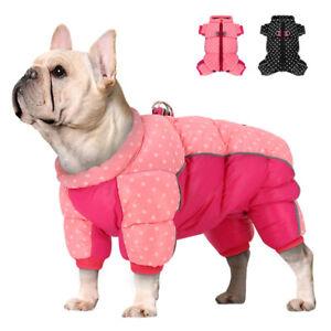 Waterproof Dog Jumpsuit Reflective Pet Coat Warm Jacket Polka Dots Puppy Clothes