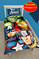 MARVEL AVENGERS TECH SINGLE DUVET COVER SET BOYS BED HULK THOR IRON MAN AMERICA