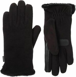 isotoner Stretch Fleece Gloves w/ Microluxe Smart Touch and Dry Technology Black