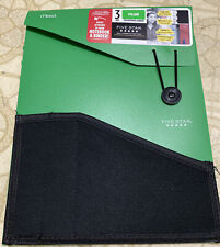 New - Mead FIVE STAR 3 Tab Expanding File Folder For Notebook/Binder - Green