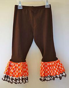 New In Bag Kelly's Kids Zelda Contrast Ruffle Brown Leggings Girl's Size 3