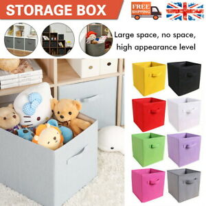 4x 8x Canvas Storage Boxes Foldable Basket Cube Magazine Bookcase Shelving Shelf