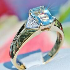 14k yellow gold ring 1.88ct aquamarine diamond size 8 vintage handmade 3.7gr