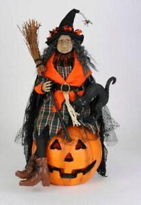 """26"""" Karen Didion Lighted Ida Witch Jack JOL Pumpkin Blk Cat Halloween Doll Decor"""