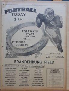 1940 full page newspaper ad - Pittsburg Gorillas vs. Fort Hays State KS football