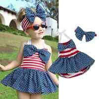 NEW 4th of July Patriotic Stars & Stripes Girls Romper Dress Headband Outfit Set