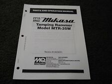 Multiquip Mikasa MTR-35W Tamping Rammer parts operation manual