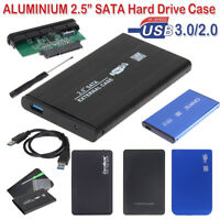 "Lot 2.5"" USB 3.0/2.0 SATA SSD HDD External Hard Disk Box Enclosure Case with Bag"