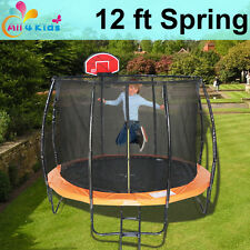 12 FT Round Spring Trampoline with Ladder Safety Net & Basketball Board