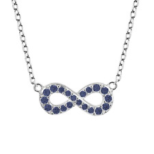Rhodium Plated Sterling Silver Created Sapphire Infinity Necklace