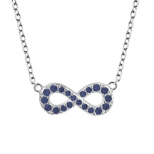 Rhodium Plated Sterling Silver Sapphire Infinity Necklace