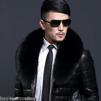 "Black Fox Fur Collar Detach Down Jacket Men Fur Scarf Women Wrap Shawl 35.4"" US"
