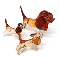 Blown Glass Dog Figurine Family Brown Handicraft Collectible Miniatures Set of 3
