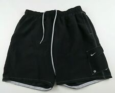 Nike Mens Mesh Lined Polyester Solid Black Swim Trunk Shorts With Pockets XL