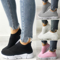 Womens Ladies Slip On Trainers Walk Go Sports Comfy Sock Sneakers Shoes Size New