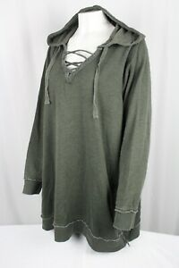 Torrid Fleece Burnout Lace-Up Side Zip Tunic Hoodie 3X Olive Green 13817963