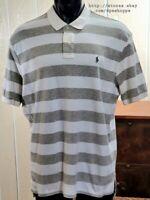 Polo By Ralph Lauren Gray Large Stripe Pony Logo Men's Short Sleeve Shirt Sz XL