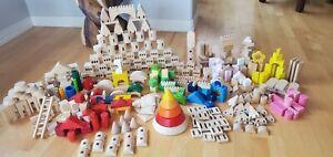 Wooden Pine Castle Building Blocks & Colored Blocks. Over 450 pieces.