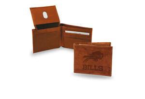 Buffalo Bills Embossed Brown Leather Billfold Wallet